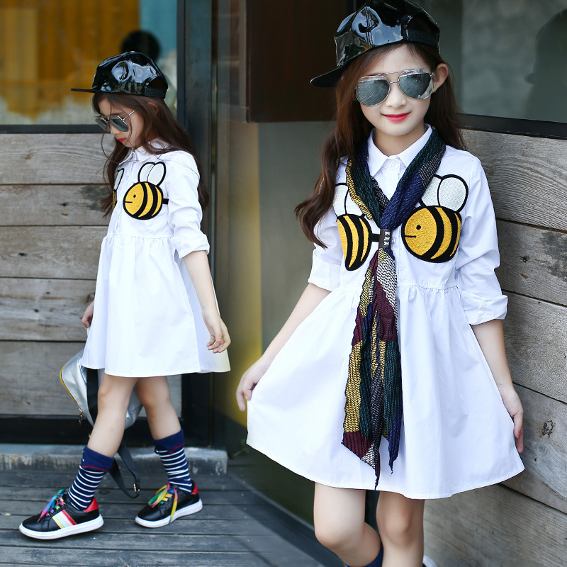 Girls Princess Dress New White Casual Lapel cotton Baby Girl Dresses Long Sleeve Clothes Kids party Small bee vestidos baby girl summer dress children res minnie mouse sleeveless clothes kids casual cotton casual clothing princess girls dresses