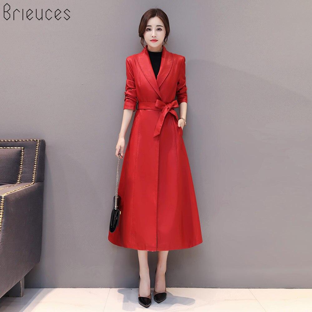 Le Unique En De Plus Femmes 4xl Nouveau Veste Survêtement Tournent Ceinture rouge Bas Mode Noir Taille Bouton X Cuir Femelle Vers La longue 2018 Manteau wKaIUq00