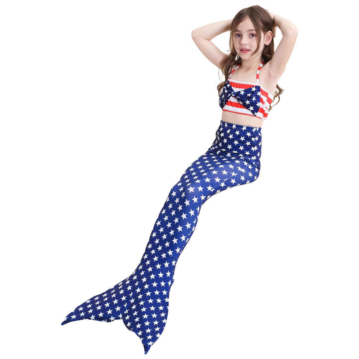 Комплект из 3 предметов; одежда для плавания с хвостом русалки для девочек; купальный костюм; костюм для костюмированной вечеринки; купальник-бикини; одежда для детей; нарядная одежда