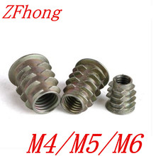 20PCS free shipping M4/M5/M6 Zinc Alloy Thread For Wood Insert Nut Flanged Hex Drive Head Furniture Nuts