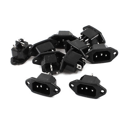 10pcs C14 Male Plug 3 Flat Pin Panel Mounting AC Power Socket Adapter 250V 10A lost ink lost ink lo019eweoz56