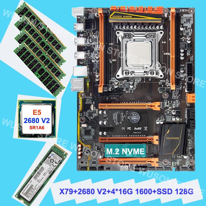 HUANAN ZHI carte mère avec M.2 128G NVME SSD discount X79 carte mère avec CPU Xeon E5 2680 V2 SR1A6 RAM 4*16G DDR3 1600 RECC