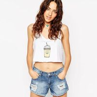 White Drink Cans Print Cropped Women Cotton Loose Crop Tops Casual Strap Tank Tops 2016 Famous