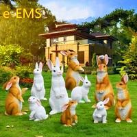 Simulation Animal Rabbit Creative Resin Craftwork Statue Pastoral Style Garden Courtyard Decoration G2463