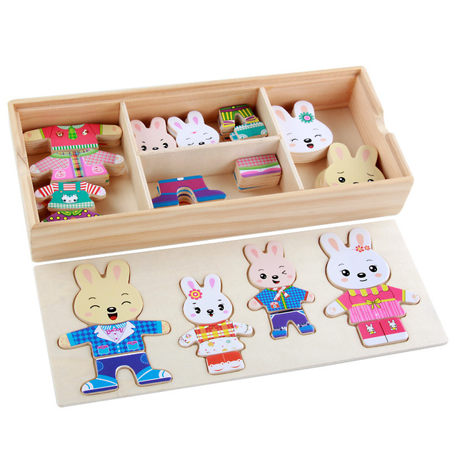 Wooden Rabbit Family Dressing Jigsaw Puzzle Educational Toys for Children Kids Change Clothes Dress Changing Creative DIY Gifts