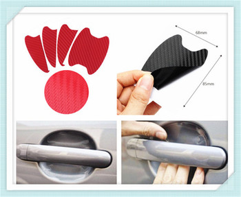 Car shape 3D carbon fiber door handle wrist anti-scratch sticker for Ford Mad Evos Stealth Start iosis F-450 Verve image