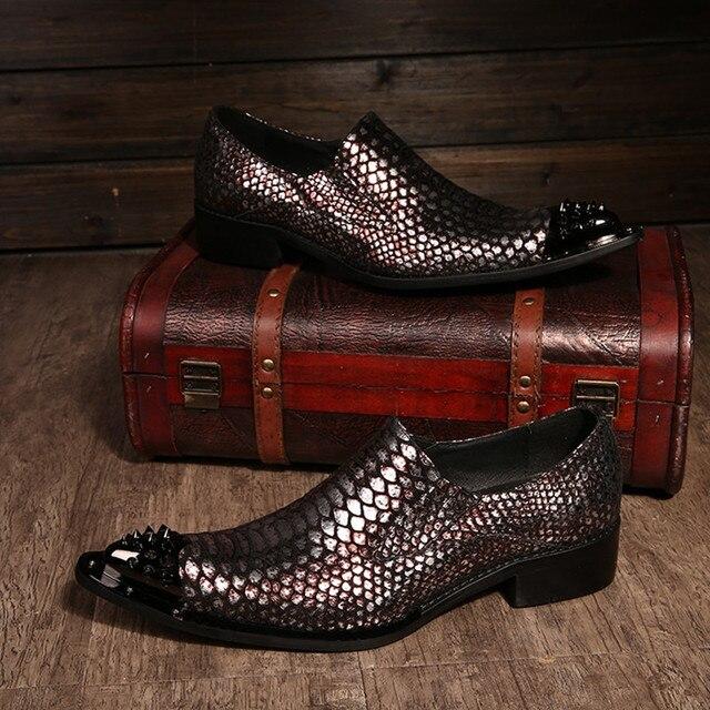 f51a4c425c Zobairou italiano Zapatos de vestir para hombre marcas mocassin homme hierro  toe snakeskin zapatos de cuero