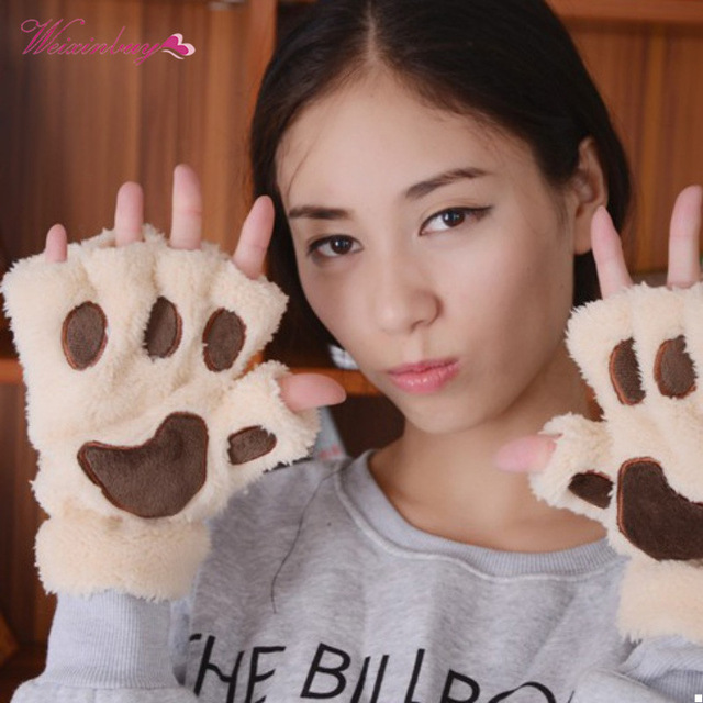 Winter Warm Fingerless Women Gilrs Mittens Lovely Paw Gloves Fluffy Bear Cat Plush Paw Soft Comfortable Party Gloves