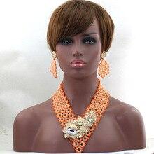 2017  Women Luxury  Jewelry Beads Set  Nigerian Beads Set  Bridal Statement Necklace Earringst  Handmade  Free Shipping  hx332