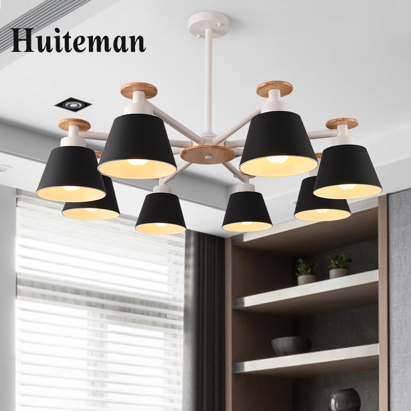 New Modern Led Ceiling Lights For Living Room Bedroom Dining Room Home Dimmable Ceiling Lamp iron wood LightingLight Fixtures chandeliers lights led lamps e27 bulbs iron ceiling fixtures glass cover american european style for living room bedroom 1031