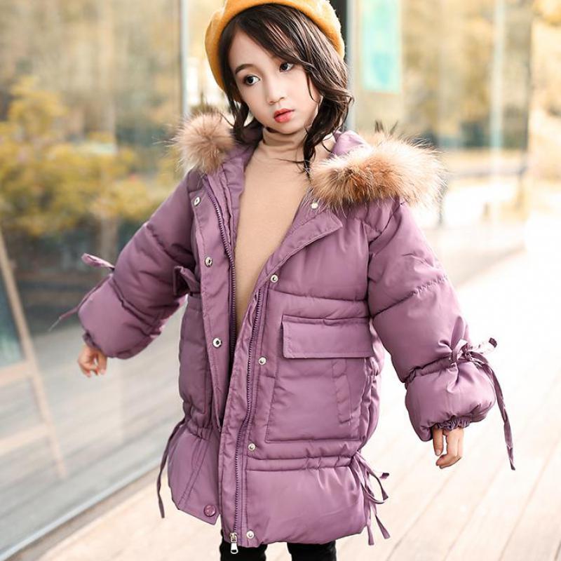 Russian Winter Girls Long Thickened Warm Down & Parkas -30 Children Big Fur Collar Down Snow Jackets Kids Hooded Down Coats Tops цена