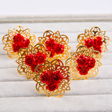 Wedding Bridal Vintage  Large Rose Flower Gold Plated Hairpins U-Shape Hair Stick 6pcs/lot