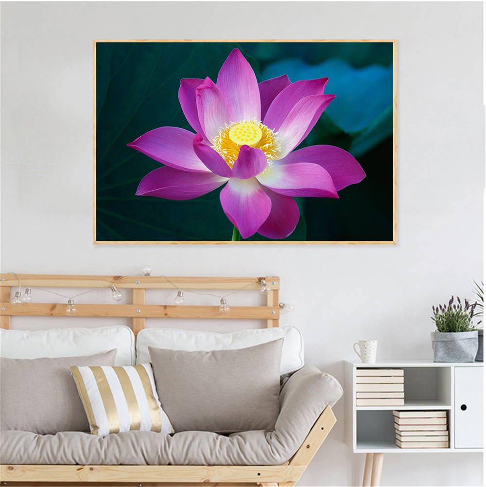 Canvas Paintings Pink Purple Lotus Flowers Wall Art Picture Wall
