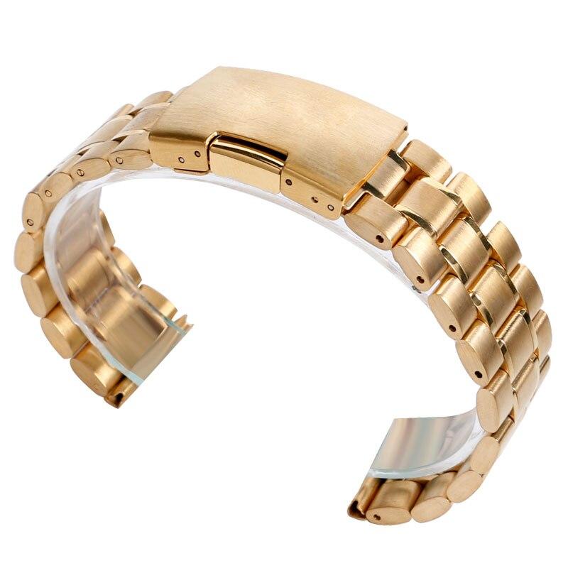 18/20/22 mm Watchband Luxury Golden Stainless Steel Band Link Watch Strap Men Women Bracelet Band Wrist Watch Tool Replacement reloj de bolsillo de superhéroes