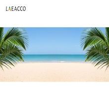 Laeacco Summer Seaside Beach Palm Tree Backdrop Photography Backgrounds Customized Photographic Backdrops For Photo Studio
