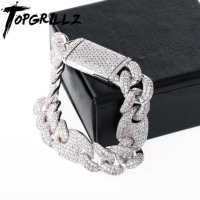 TOPGRILLZ 16mm Iced Out Cuban Bracelets Chain Hip hop Jewelry Gold Silver AAA CZ Big Square Clasp Bracelet for Men Rapper Link