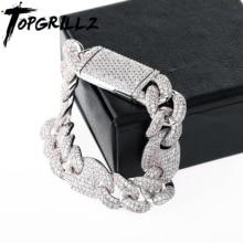 TOPGRILLZ 16mm Iced Out Kubanischen Armbänder Kette Hip hop Schmuck Gold Silber Farbe CZ Großen Platz Verschluss Armband für männer Rapper Link