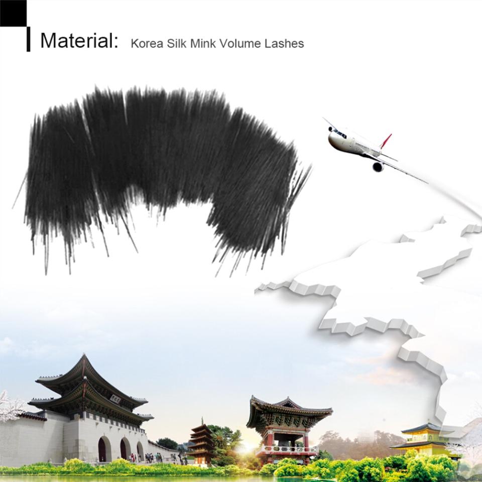 NEWCOME 50 Trays/set, 3D Koreaanse Wimper Extension Natuurlijke Zwart Fake Valse Wimpers Krul C/D Wimpers voor Professionele Make Up - 2