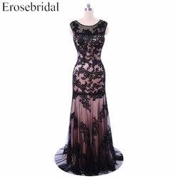 Evening dresses erosebridal 2017 black appliques long prom party gown formal mermaid dress zipper vestido de.jpg 250x250
