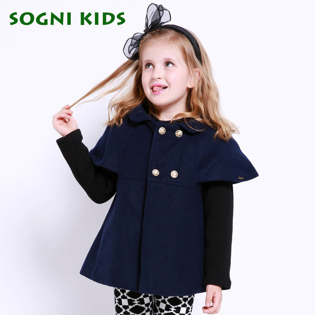 SOGNI KIDS Girls Clothes Fashion Double Breasted Girls Wool Coat Brand Kids Clothing For Girls Winter Wool Jacket Good Quality