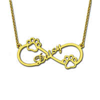 Wholesale Personalized Engraved Infinity Name Necklace Gold Color Dag Paw Necklace For Pets Lovers