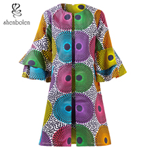 Shenbolen African Clothes For Women Fashion Print coat High Quality Stitched Trumpet Sleeve Casual Coat