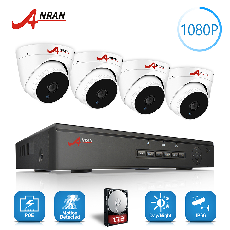 ANRAN P2P Plug and Play 2MP 1080P HD 4CH POE NVR 48 IR Day Night Waterproof Dome FTP Security POE IP Cameras CCTV System 2TB HDD anran plug and play 4ch cctv system wifi nvr kit p2p 1080p hd ir ip camera wifi outdoor cctv camera security system 2tb hdd