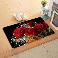 Personnalisé Fleur Roses Paillasson Tapis De Bain Pied Tapis Home Decor Salle De Bains Tapis Paillasson Tapis de Sol A320 #4