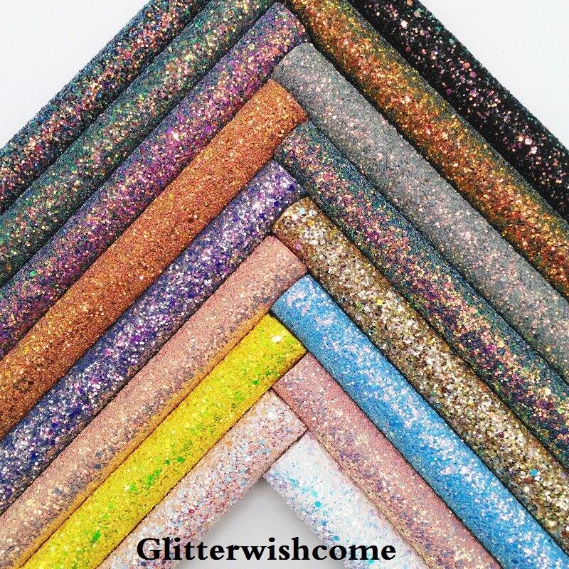 Glitterwishcome 21X29 см A4 размеры синтетическая кожа, переливающийся ультра смешанные коренастый блестящая кожаная ткань винил для Луки, GM048A