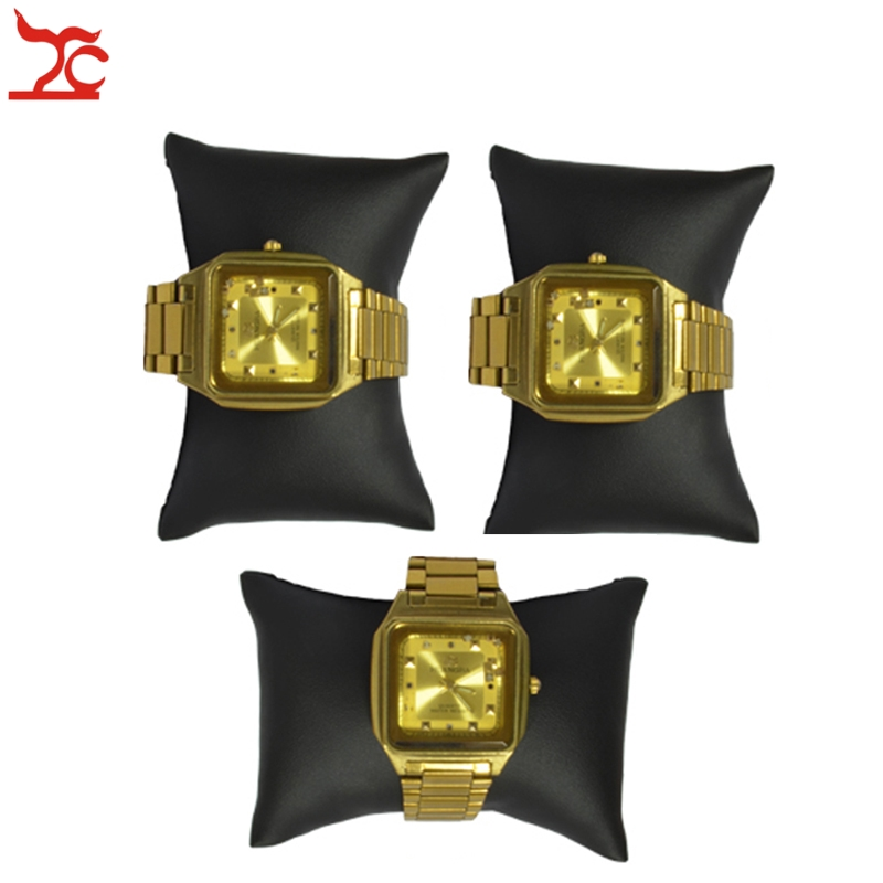 3Pcs Small 8.5 X 5 X 3cm Black Leatherette Pillow Holder  Bracelet Watch Anklet  Bangle Chain Display Cushion Pillow
