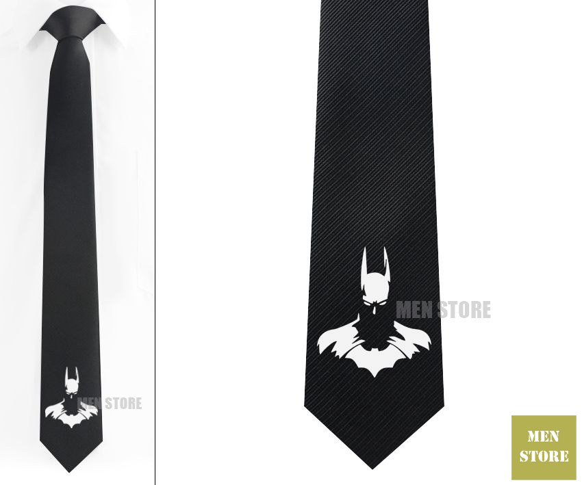 Cool Batman Face Men Jacquard Woven Skinny Slim Narrow 2.3 Necktie 6 cm Neckwear Wedding Party Groom Tie Cufflink LK062M