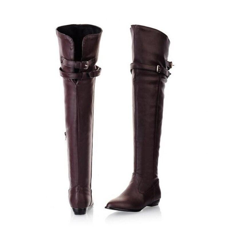 beige Botas Cachemire Plat Cashmere Femme Plus 35 Chaussures Sur La 46 2019 Rouge Le Avec vin Bottes Cazshmere Genou Beige Taille Cuissardes burgundy Femmes Boucle noir Hiver Cashmere black Automne 786pzS