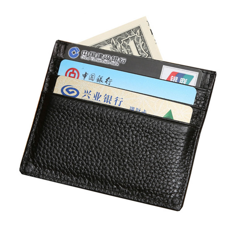 1pcs men s women genuine leather credit card holder wallet business card pocket tarjeteros de bolsillo