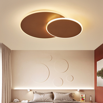 Round  DIY Rotating Modern Led Ceiling Lights For Living Room Bedroom Study Room White/Brown Color led Ceiling Lamp Fixture