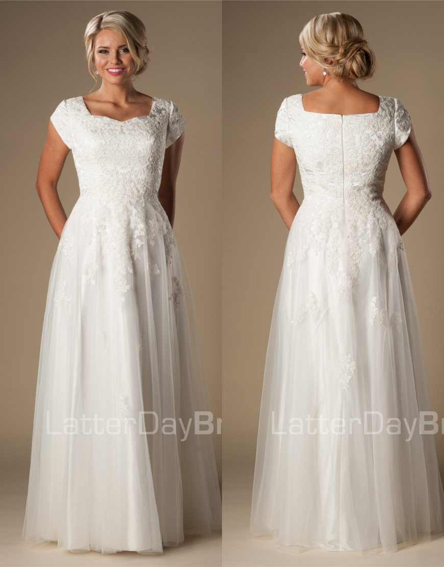 Ivory Lace Tulle Modest Wedding Dresses