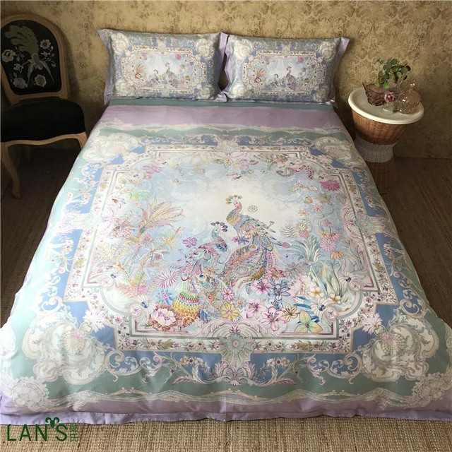 High End Palace 100%cotton 4pcs Bedding Sets Digital Peacock Printed  Thicken Duvet Cover