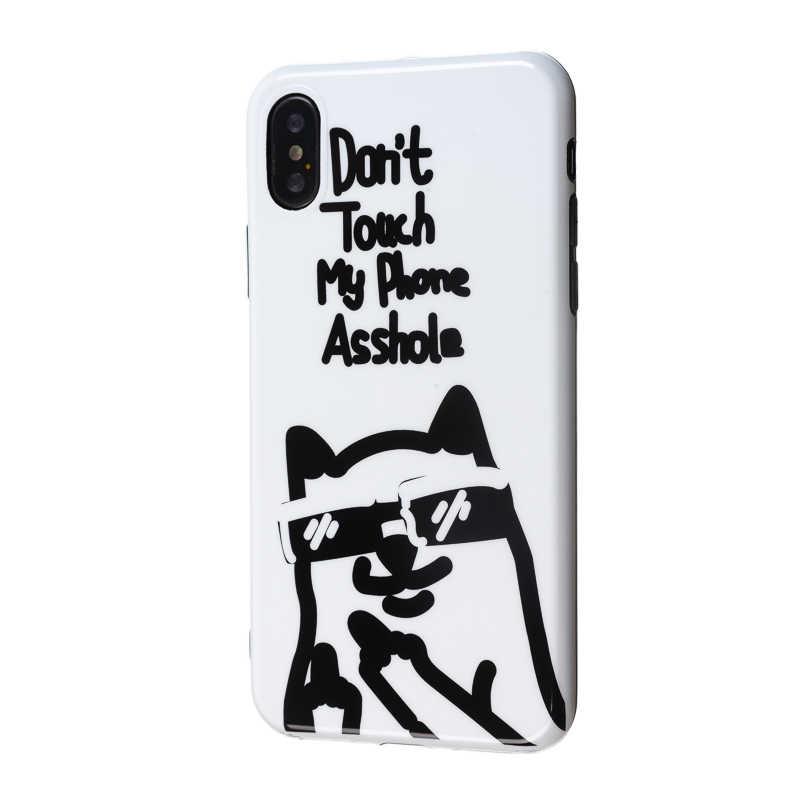 Luxury Glossy IMD นุ่มซิลิโคนสำหรับ iphone ของ Apple iphone X XS Max XR 7 Plus 8 6S 6 สีดำน่ารักสุนัขไม่ได้สัมผัสโทรศัพท์ของฉันแก้ว