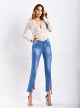 Spring And Summer New Womens Rivets Ra W Edge Pants Feet Micro Flare Jeans