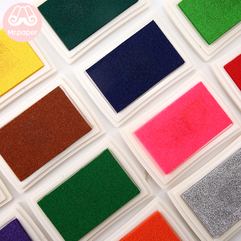 Mr Paper 15 Colors Inkpad Handmade DIY Craft Oil Based Ink Pad for Fabric Wood Paper Scrapbooking Ink pad Finger Painting 2