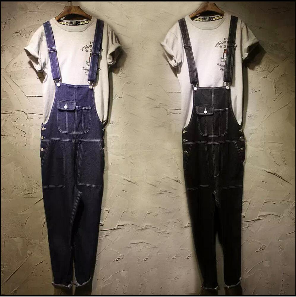 HOT New Men's Overalls fashionable denim bib pants slim strap pants tooling suspenders trousers jeans singer costumes Rompers new mens skinny jean overalls blue suspenders multi pocket bib pants holes denim trousers size m 2xl