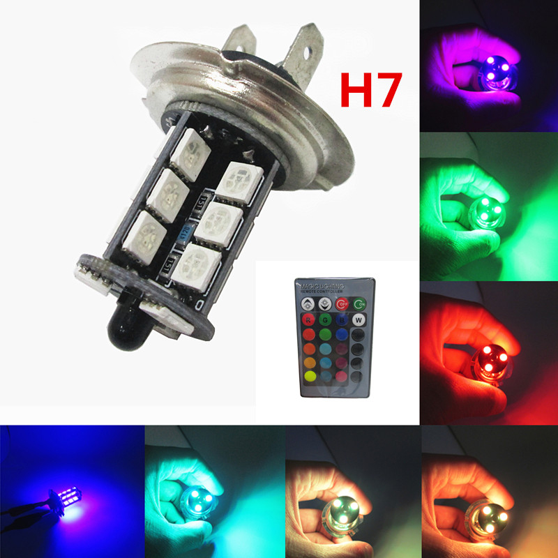2pcs RGB LED Auto Car Headlight H7 5050 LED 27 SMD multi-color RGB Fog Light Head Lamp Bulb With Remote Control Car Styling 12V mini multimeter holdpeak hp 36c ad dc manual range digital multimeter meter portable digital multimeter