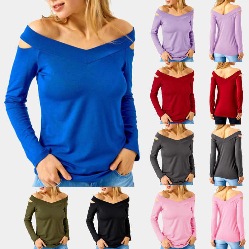 Осенняя футболка Femme, Сексуальная футболка, женский топ с v-образным вырезом, женская черная футболка с открытыми плечами, футболка с длинными рукавами, женская футболка, Топ