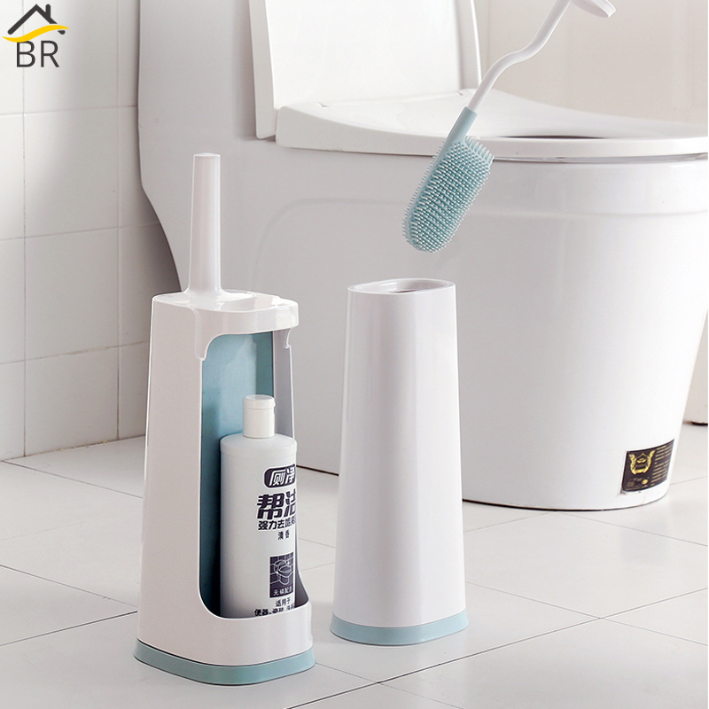 BR Flexible TPR Toilet Brush With Holder And Storage Caddy Toilet Brush Set Bathroom Accessories Toilet Cleaning Brush Drainer