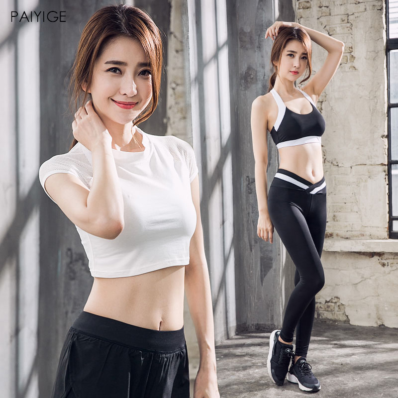 Women Yoga 4Pcs Set Gym Fitness Clothes Tennis Shirt+Yoga Bra +Short+Pants Running Tight Jogging Workout Yoga Leggings Suite 2017 women compression sexy gym yoga shorts lulu training sports short jogging cycling fitness leggings athletic workout clothes
