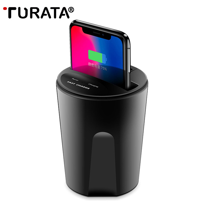 TURATA Qi Wireless Car Charger Cup 10W Phone Stand Holder Cup for Samsung S8 S7 S6 edge iPhone X 8 7 All QI enabled Smart Phone