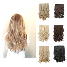 """24"""" 60cm Curly Wavy 5 Clip In Hair Extension Natural Blonde Heat Resistant Hairpiece Apply Hair Synthetic Hair Extensions"""
