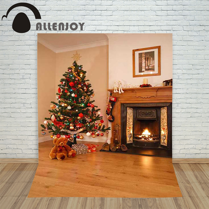 Allenjoy christmas photography backdrop Fireplace xmas Tree Gift Bear Doll children's camera photo background photographic allenjoy photo backgrounds christmas photo backdrop toys gifts the christmas tree bear fire photography