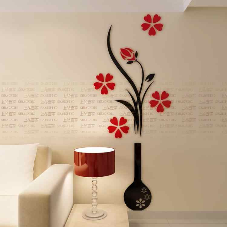 Fashion Plum Vase 3D Wall Stickers Flower Entrance DIY Art Decor Home Decoration Free Shipping