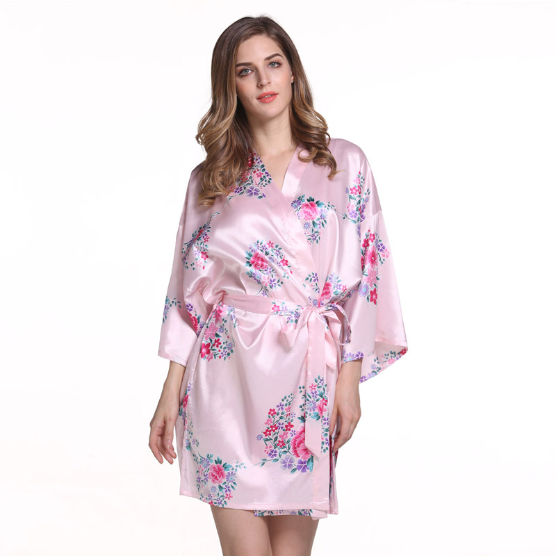 Elegant Flowers Bridesmaid Wedding Sexy Robe Dress Womens Satin Short Nightwear Kimono Bath Gown Casual Nightgown Pajamas M50