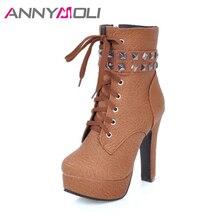 Annymoli Для женщин Сапоги и ботинки для девочек Высокая платформа с заклепками ботильоны для женщин плюс Размеры 33-46 с заклепками женская зимняя обувь Chaussure Femme
